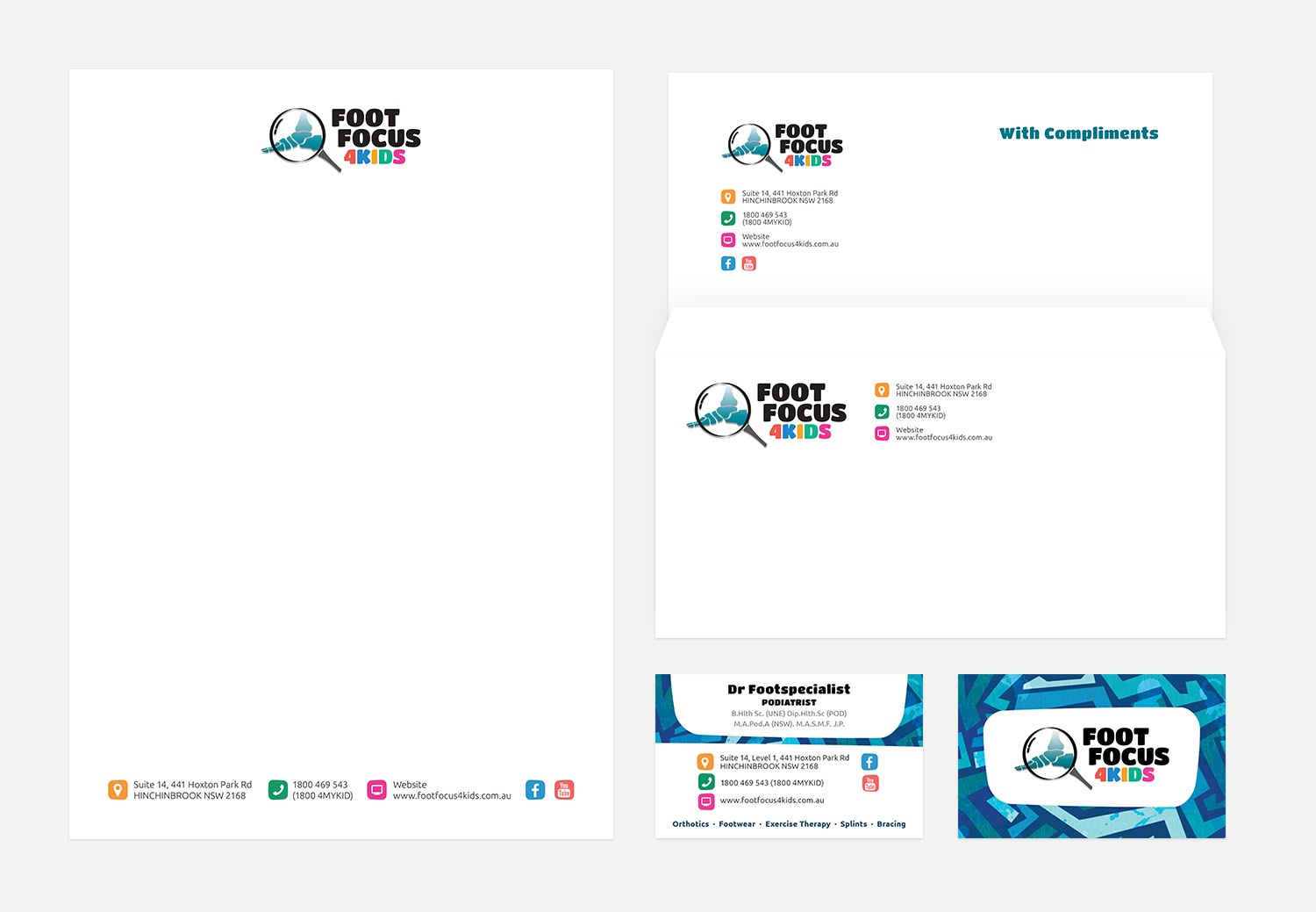 Stationery for a healthcare provider - design by Theysaurus