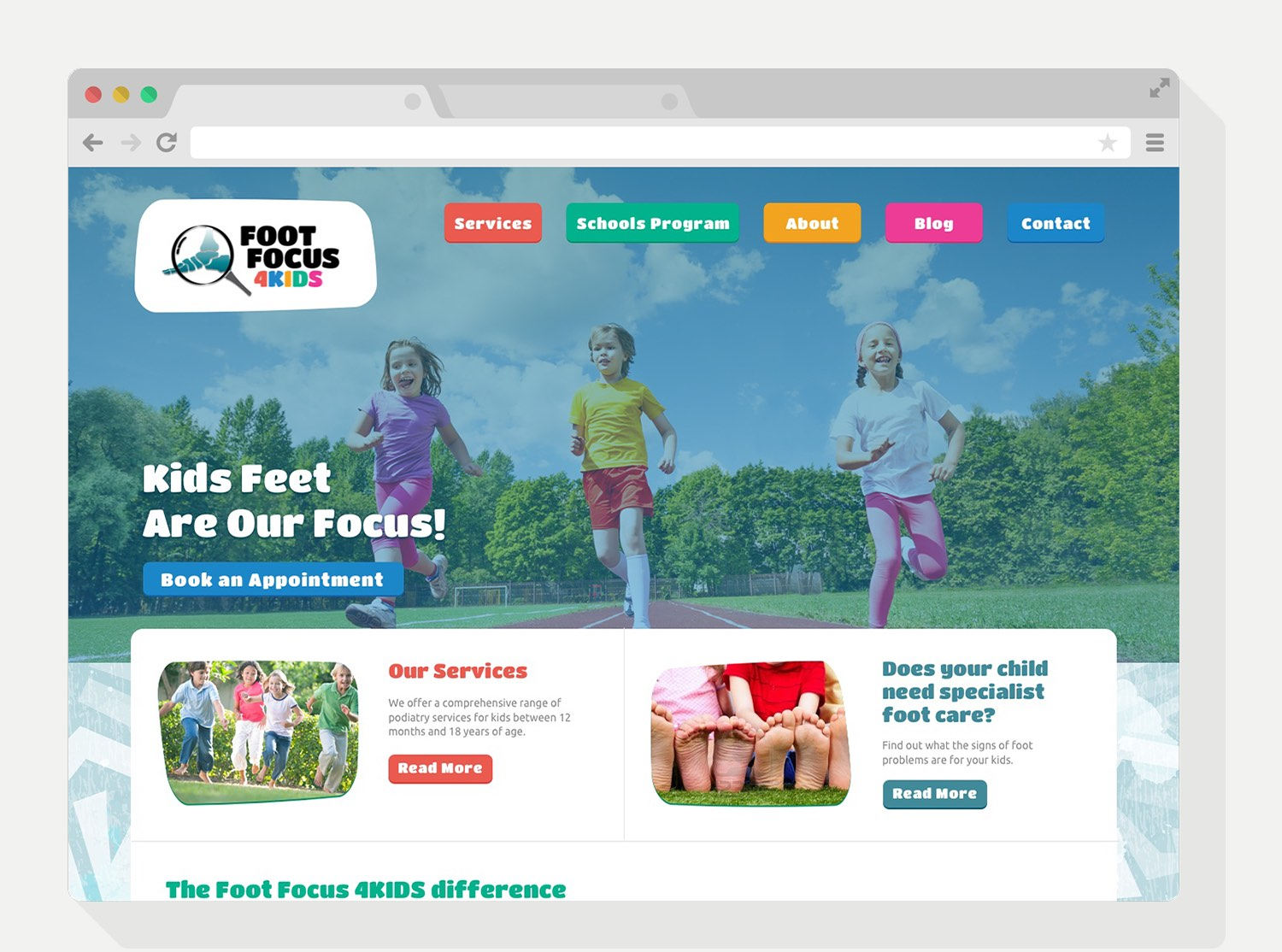 Foot Focus 4KIDS Website Design - design by Theysaurus
