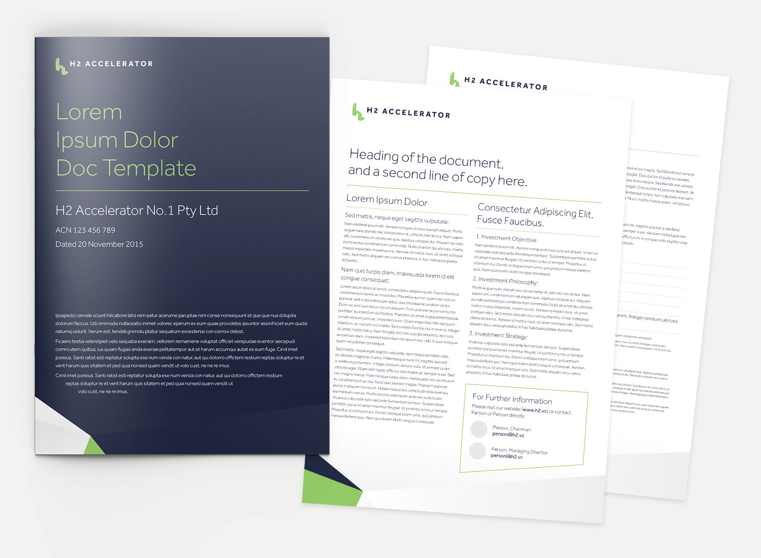 H2 Ventures Document Templates - design by Theysaurus