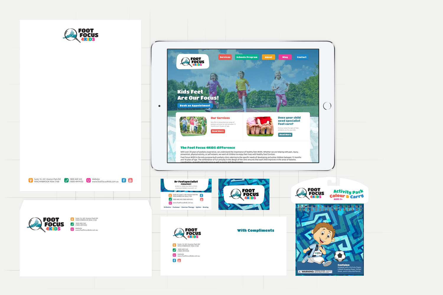 Foot Focus 4KIDS Website and Brand Design by Theysaurus